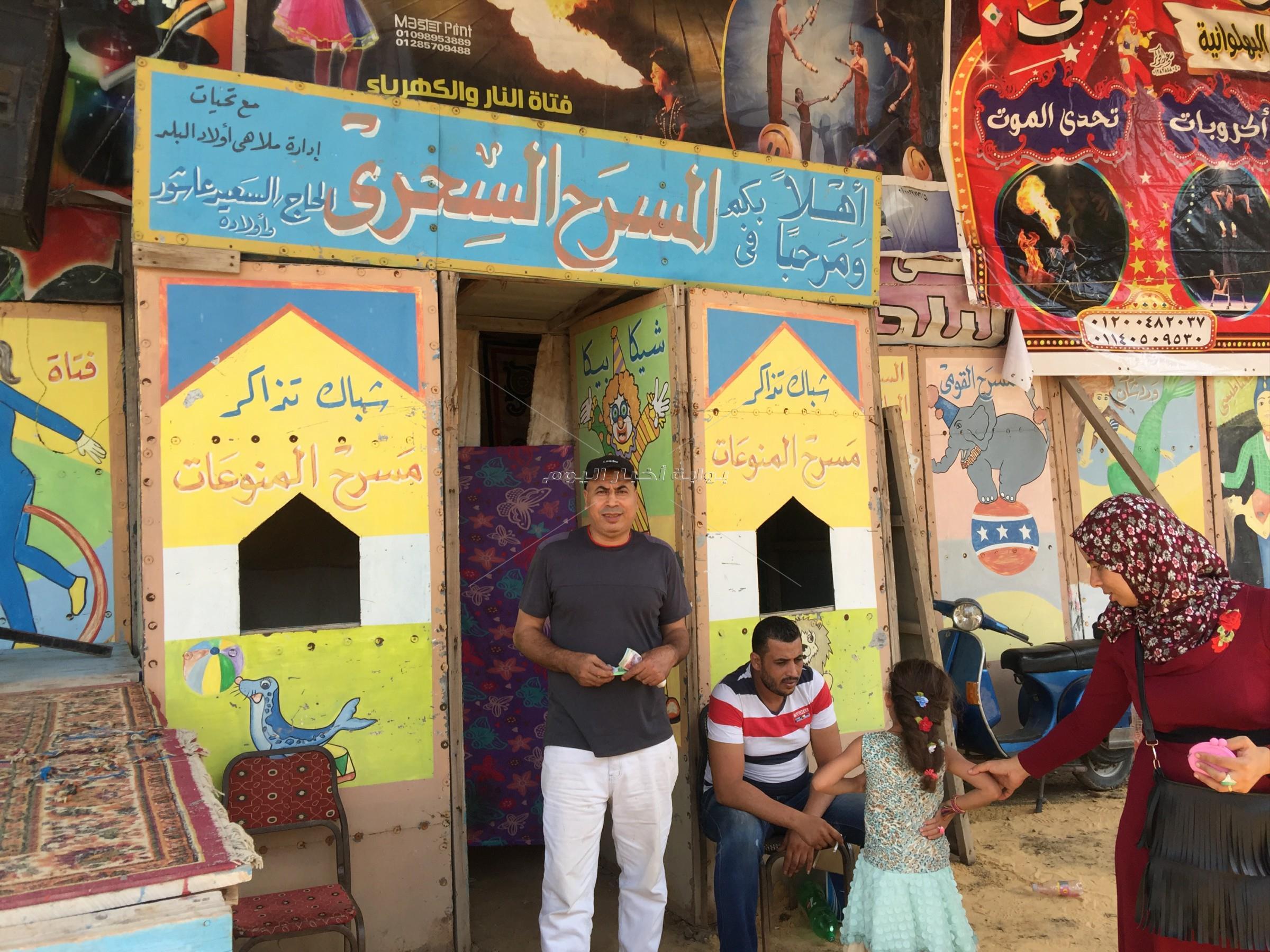 إقبال كثيف من الشباب علي ملاهي البسطاء في المحلة