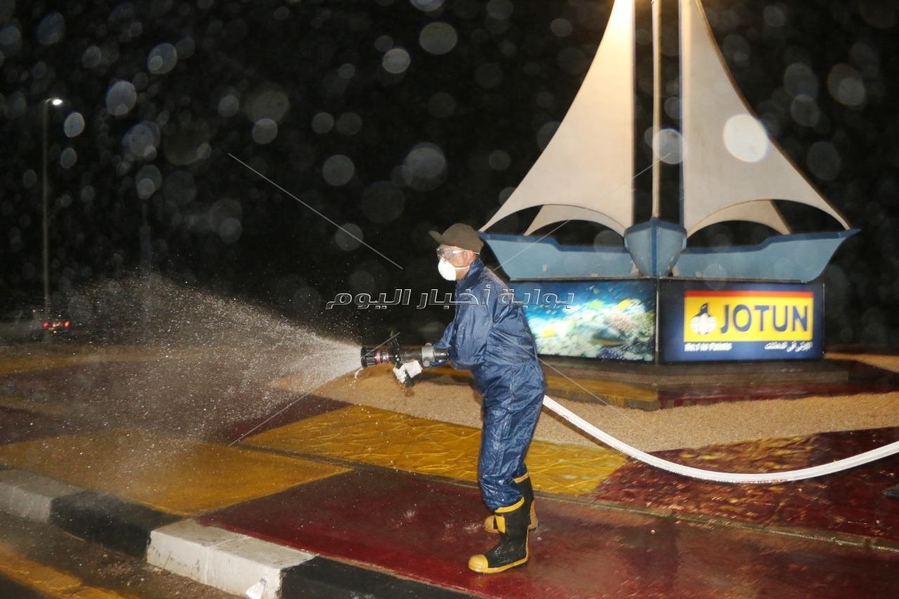 فودة يتابع تعقيم شوارع ومشايات مدينة شرم الشيخ