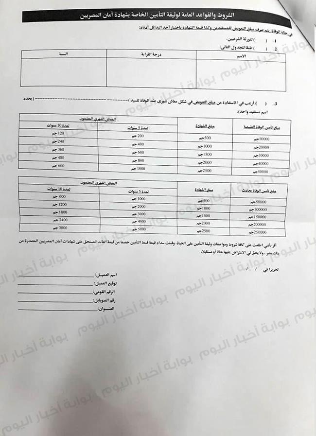 انفراد استمارة التقدم للحصول على شهادة أمان المصريين بوابة أخبار اليوم الإلكترونية
